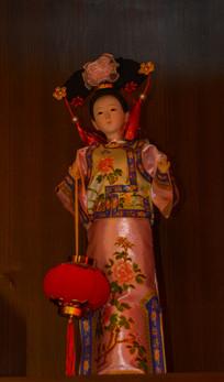 清朝宫女木偶模型