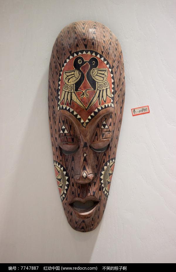 双鸟彩绘木面具高清图片下载 红动网