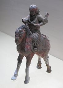 明代文物彩绘陶骑马武士俑