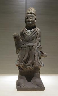 明代文物彩绘陶抬轿侍役俑