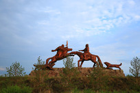 腾飞的骏马雕塑
