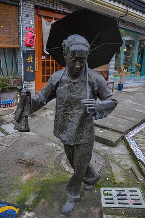 舟山跳蚤舞女表演者雕像