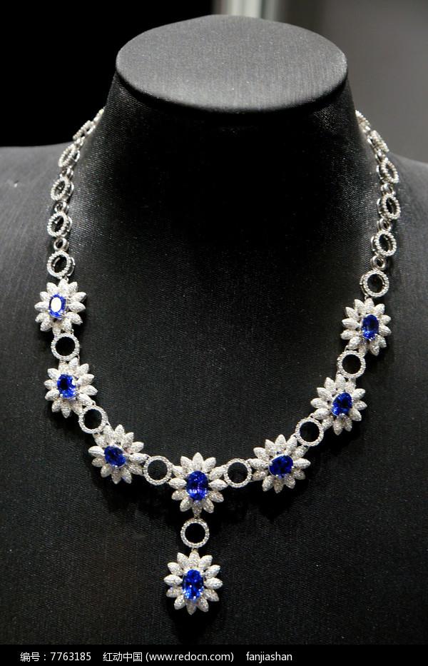 白银蓝钻雕花项链图片
