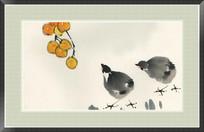 秋韵图 枇杷与小鸡