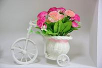 塑料自行车小花篮