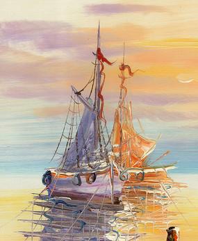 风景油画 海景 码头油画 帆船