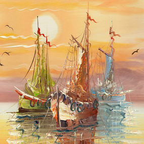 海景 码头油画 风景油画
