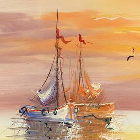 海景油画 风景油画 码头油画