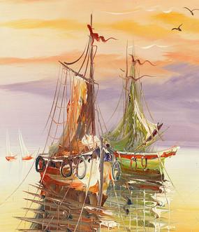 码头油画 帆船油画