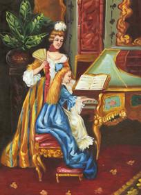 欧式风格宫廷人物油画