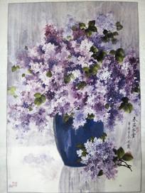 紫色小花中国画