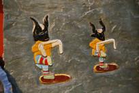 彩色石刻牦牛面具舞蹈