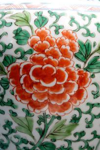 绿叶红花瓷画