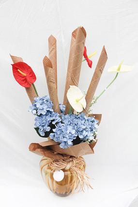 报纸仿真花装饰盆栽