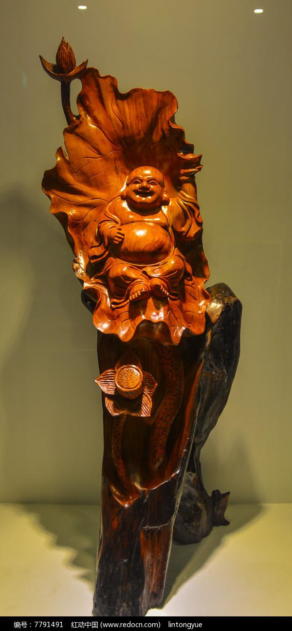 梨花木雕刻弥勒佛