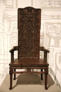 超高靠背实木雕刻靠背椅