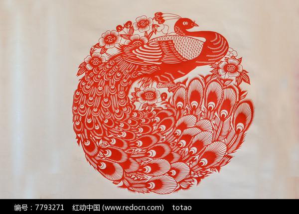 孔雀剪纸图案图片