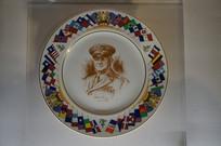 美国飞虎队阿诺德将军头像瓷盘