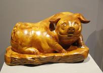 木雕黄金猪