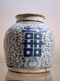 清民国青花缠枝喜纹瓷罐