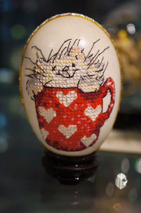 蛋壳十字绣之杯中猫猫