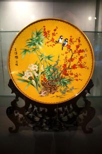 景泰蓝之喜鹊登梅瓷盘
