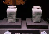 明代青白釉带盖瓷罐
