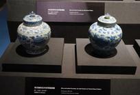 明代青花缠枝花卉纹带盖瓷罐
