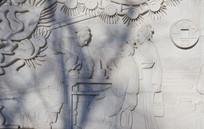 古代人物喝茶场景壁雕