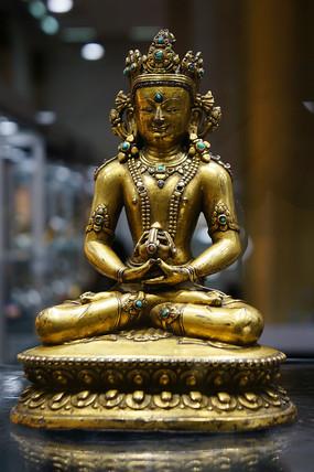 明十五世纪铜鎏金嵌绿松石无量寿佛