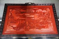 清中期剔红仙山楼阁图挂屏