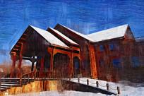 电脑油画《木屋别墅》