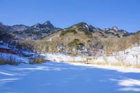 千山桃花溪谷山峰山脉雪景