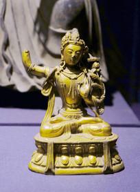 清铜鎏金文殊菩萨像