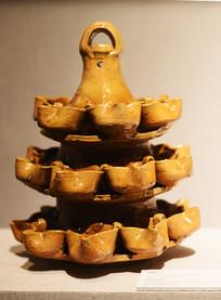 黄釉瓷灯架