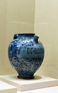蓝色植物文字大罐