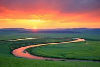 额尔古纳河日落风光