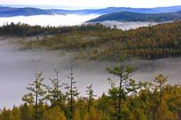 秋季龙岩山晨雾