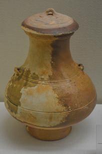文物汉代釉陶有盖双系钟式壶