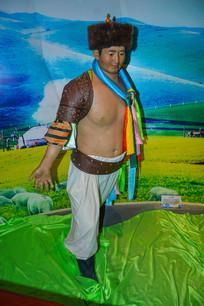 蜡像蒙古族男子