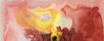 抽象油画 中式风格装饰画 水墨素材图片