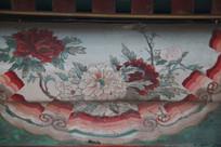 颐和园长廊彩绘画大红牡丹