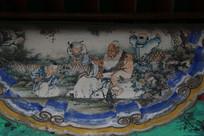 颐和园长廊彩绘画古代老人和孩童