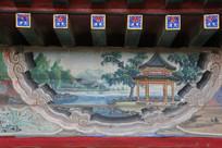 颐和园长廊彩绘画古代山水亭台
