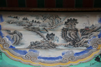 颐和园长廊彩绘画古代山寺图