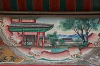 颐和园长廊彩绘画古代庭院山水图