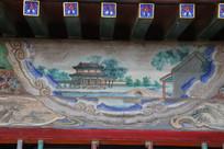 颐和园长廊彩绘画古代小桥庭院