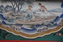 颐和园长廊彩绘画古代摇橹船饮茶