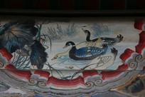颐和园长廊彩绘画荷塘野鸭