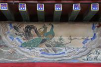 颐和园长廊彩绘画孔雀图